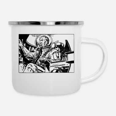 Scifi Retro Scifi Spaceman - Enamel Mug
