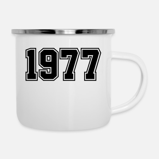 Year Mugs & Drinkware - 1977 | Year of Birth | Birth Year | Birthday - Enamel Mug white