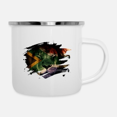 South Africa South Africa Flag & African Lion Picture - Enamel Mug