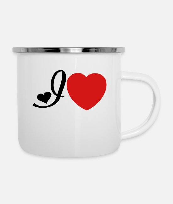 Heart Mugs & Cups - I heart I love - Enamel Mug white