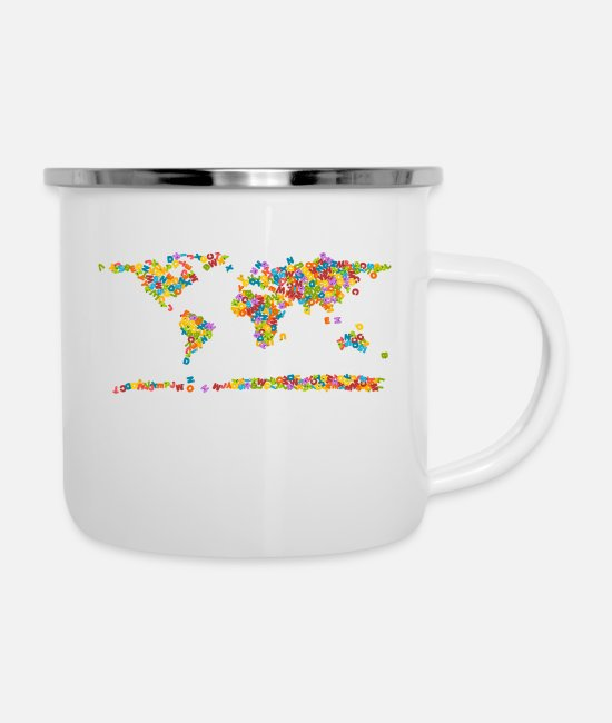 Alphabet Mugs & Cups - World map - Enamel Mug white