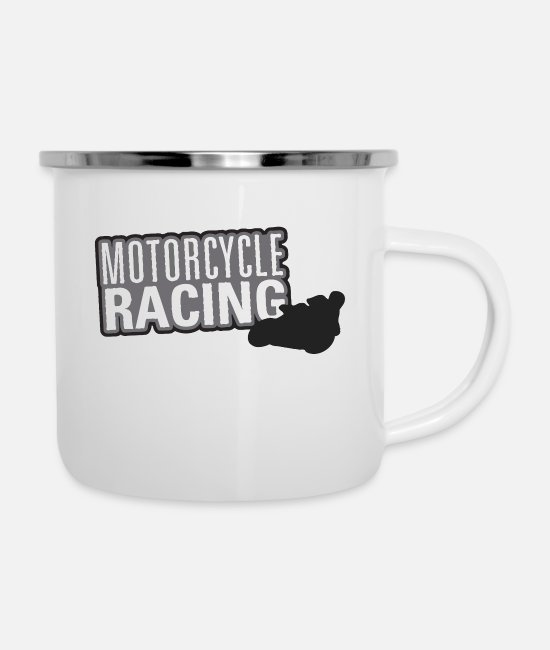 Sport Climbing Mugs & Cups - Motor Sport Titles Motorcycle Racing - Enamel Mug white