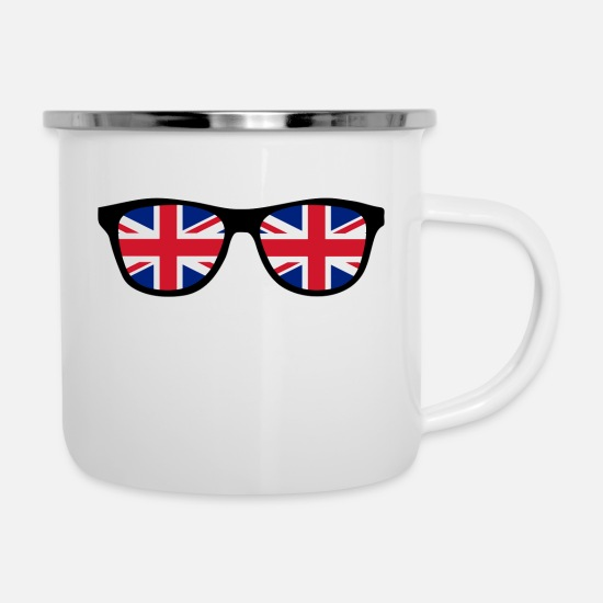 Escape Mugs & Drinkware - Glasses with Union Jack - BREXIT - England - Enamel Mug white