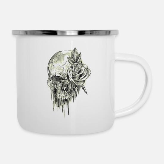 Skull Rose Camper Mug - white
