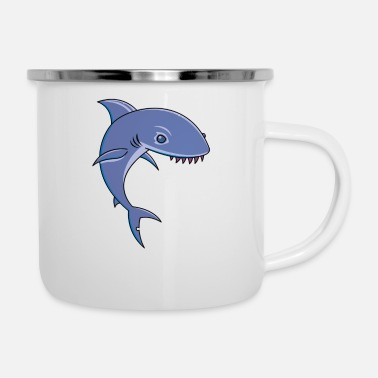 Cartoon Shark Sharky Cartoon Shark - Enamel Mug
