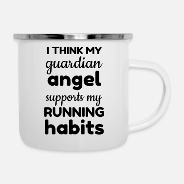 Outdoor I think my guardian angel supports my running - Camper Mug