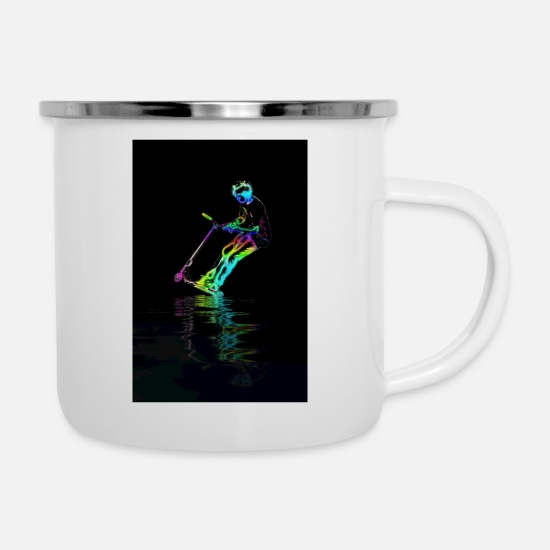 Scooter Mugs & Drinkware - Puddle Jumping - Scooter Boy - Enamel Mug white
