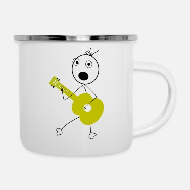 Stick Figure Drawing with a Guitar playing Stick Figure - Enamel Mug