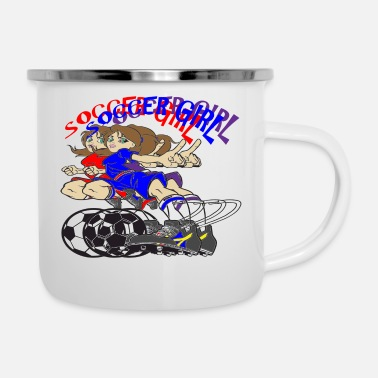 SOCCER GIRL TEXT - Enamel Mug