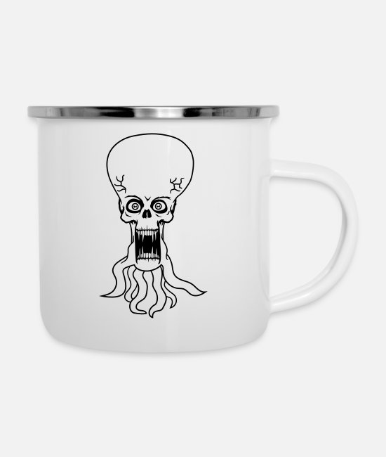 Extraterrestrial Mugs & Cups - evil ugly disgusting tentacle monster horror hallo - Enamel Mug white
