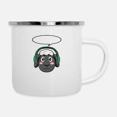 Headphones Sheep with headphones - Enamel Mug