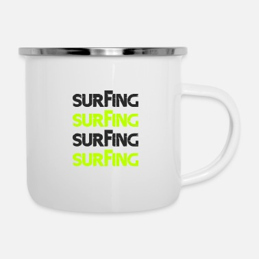 Super Surfing black green - Enamel Mug