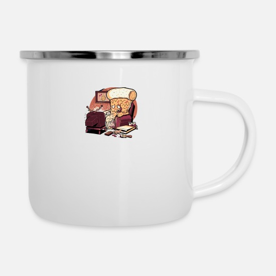 Pizza Mugs & Drinkware - CARNIVOROUS PIZZA - Enamel Mug white