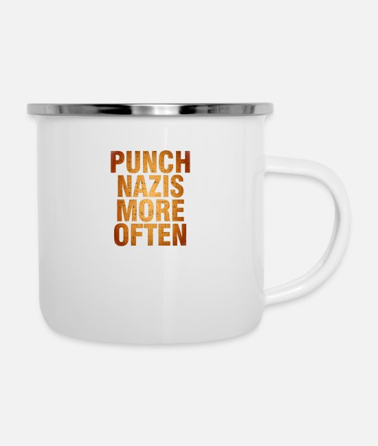 Punch Mugs & Cups - Punch More Nazis Shirt Pre - Enamel Mug white