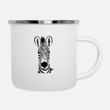 Hip Zebra face black and white striped - Enamel Mug