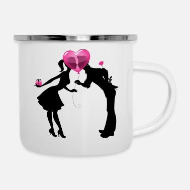 Love Valentine Couple LOVE - Enamel Mug
