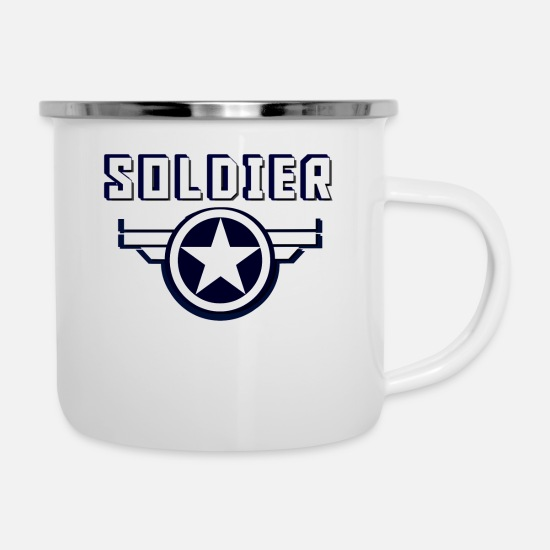 Lightning Mugs & Drinkware - SOLDIER AMERICA DEPLOYED NAVY MARINE ARMY AIRFORCE - Enamel Mug white