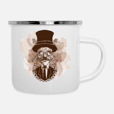 Collections Vintage hand painted steampunk man vector image - Enamel Mug