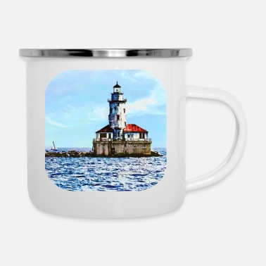 Lighthouse Chicago IL - Chicago Harbor Light - Enamel Mug