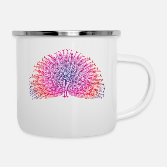 Colorful Mugs & Drinkware - Bright Colorful Peacock - Enamel Mug white