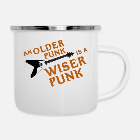 Dad Mugs & Drinkware - An Older Punk is a Wiser Punk - Enamel Mug white