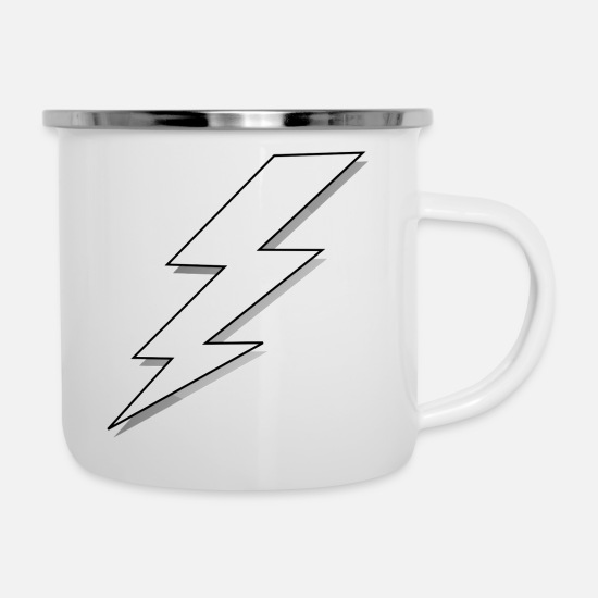 Lightning Mugs & Drinkware - lightning bolt - Enamel Mug white