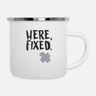 Tape Here Fixed - Enamel Mug