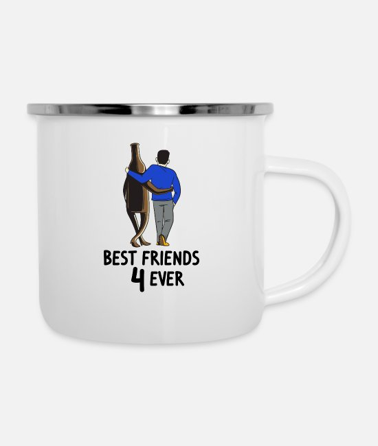 Epicure Mugs & Cups - Beer and me are best friends 4 ever Beer lover - Enamel Mug white