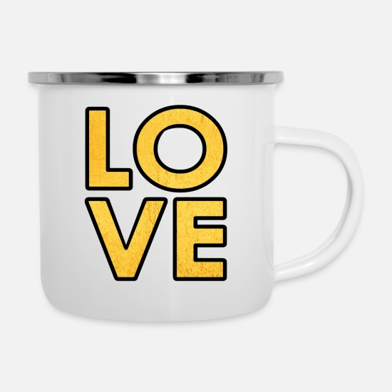 Love Mugs & Drinkware - Love - Valentine´s Day - Lovers - Heart - Romance - Enamel Mug white