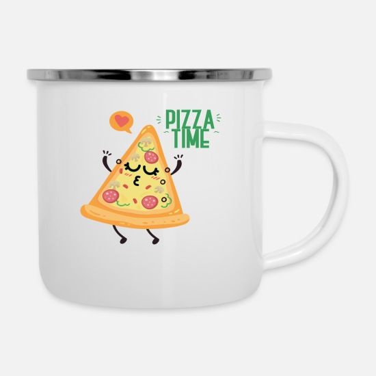 Love Mugs & Drinkware - Pizza Time Love Gift - Enamel Mug white