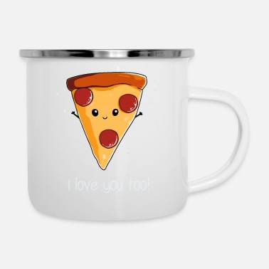 I Love & I Love Pizza - Enamel Mug
