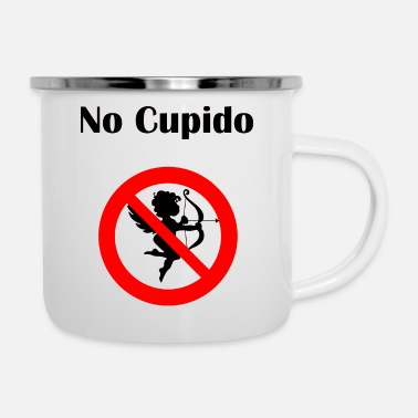 Cupido No Cupido Stay away Fun Anti-Valentine's-Day gift - Enamel Mug