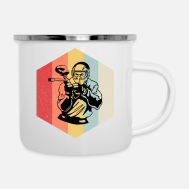 Paintball Retro Paintball rhombus gift - Enamel Mug