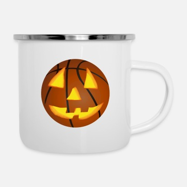 Basketball Pumpkin Face Halloween Scary Funny - Enamel Mug