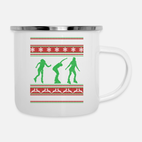 Skating Mugs & Drinkware - Skating Shirt - Skating Christmas Shirt - Enamel Mug white