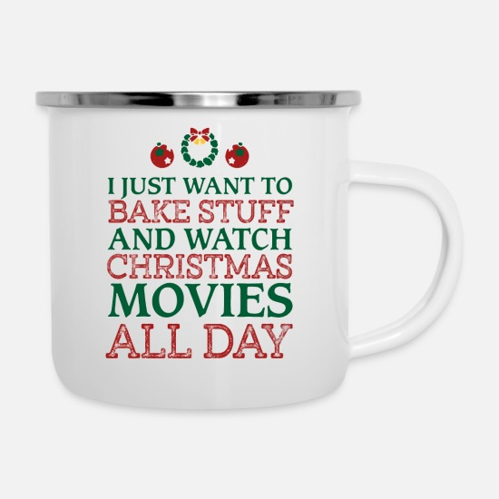Christmas Mugs & Drinkware - I just want to bake stuff shirt - Enamel Mug white