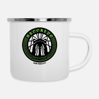 Building Brooklyn Bridge - NYC - New York City Money Green - Enamel Mug