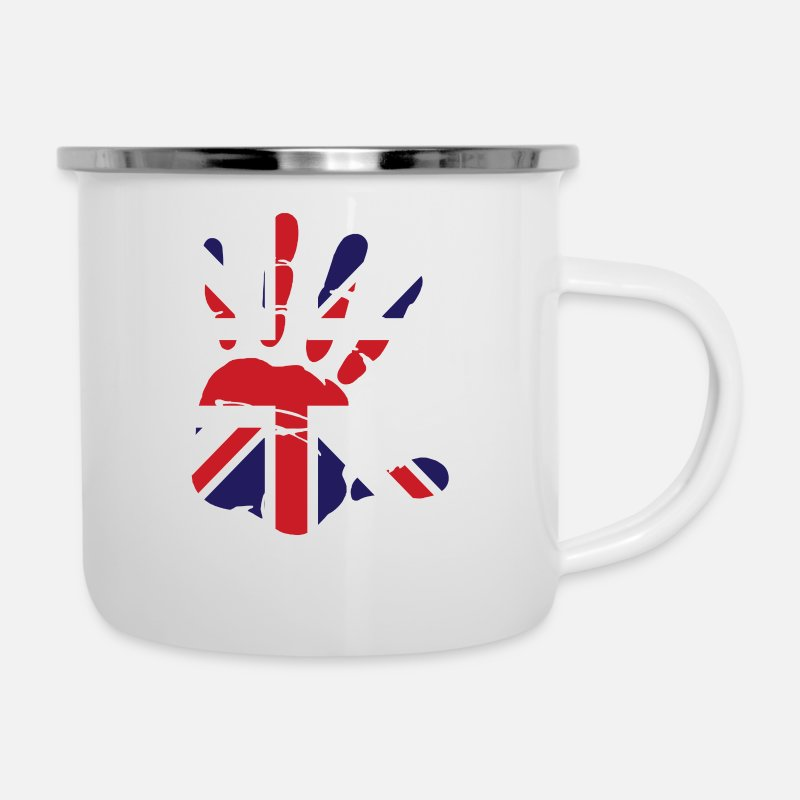Love Mugs & Drinkware - British Flag Handprint Patriotic Pride - Enamel Mug white