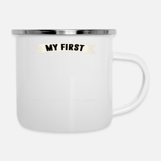 Love Mugs & Drinkware - My First Love my HUSBAND T-shirt - Enamel Mug white