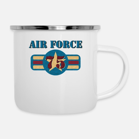Birthday Mugs & Drinkware - USAF Air Force Vintage Veteran 75 Pilot Military - Enamel Mug white