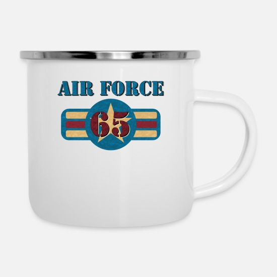 Birthday Mugs & Drinkware - USAF Air Force Vintage Veteran 65 Pilot Military - Enamel Mug white