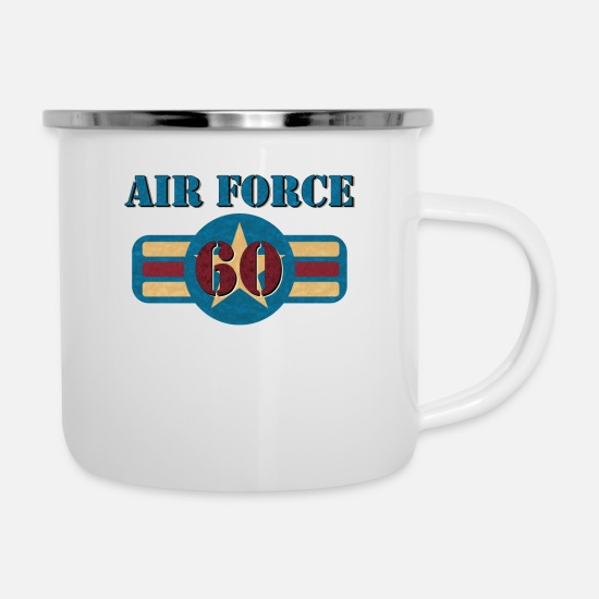 Air Mugs & Drinkware - USAF Air Force Vintage Veteran 60 Pilot Military - Enamel Mug white