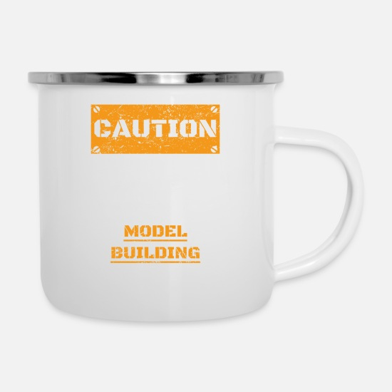Birthday Mugs & Drinkware - CAUTION WARNUNG TALK ABOUT HOBBY Model building - Enamel Mug white