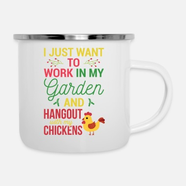 Out Garden gardener and chickens gift - Enamel Mug