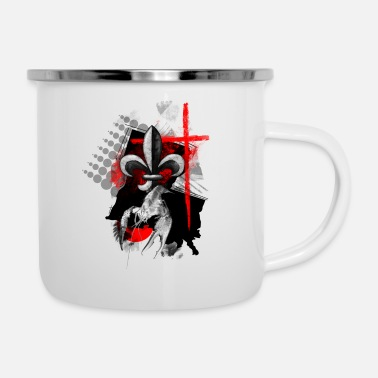 louisiana design fleur de lis cross crawfish - Camper Mug