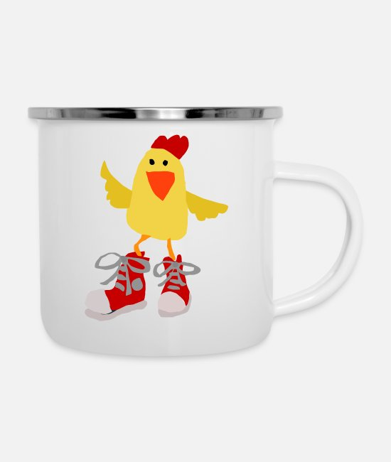 Chicken And Shoes Mugs & Cups - Funny chicken shirt - Enamel Mug white