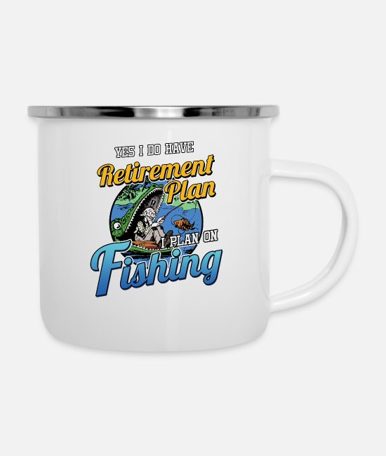 Retired Mugs & Drinkware - Retirement Plan Fishing - Enamel Mug white