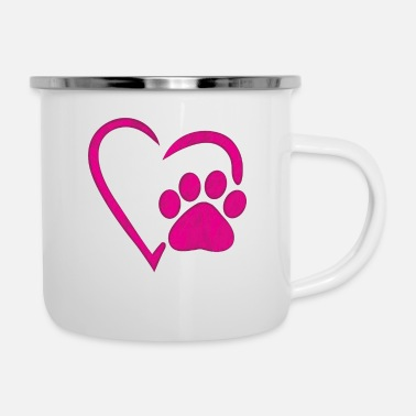 Long heart dog paw dog mom t-shirt - Enamel Mug