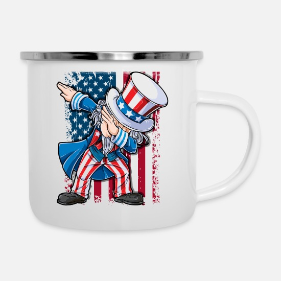 American Flag Mugs & Drinkware - Dabbing Uncle Sam T shirt 4th of July Men Kids Boys American Flag Gifts - Enamel Mug white