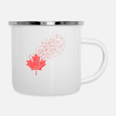 Leaf Canada Flag Red Maple Symbol Leaf Bird Flock Pride - Enamel Mug